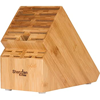 20 Slot Universal Knife Block: Shenzhen Knives Large Bamboo Wood Knife Block without Knives - Countertop Butcher Block Knife Holder and Organizer with Wide Slots for Easy Kitchen Knife Storage