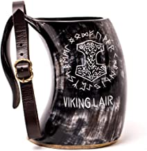 Mythrojan Viking Drinking Tankard with Medieval Buckle leather strap Wine Beer Mead Mug 600 ML - Polished Finish