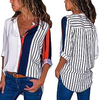6b7dbb9ef4464 Roiper Womens Stripe Tops, Casual Automne Manches Longues Tops Color Block  Stripe Button T-