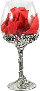 Bicchiere calice in vetro per vino bianco o rosso, personalizzato con scritta, regalo elegante Made in Italy Cavagnini