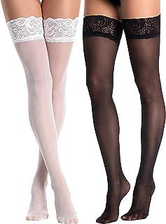 /Calze autoreggenti con strisce orizzontali in Bianco Nero Taglia Unica circa 38/fino a 40 LEG AVENUE/
