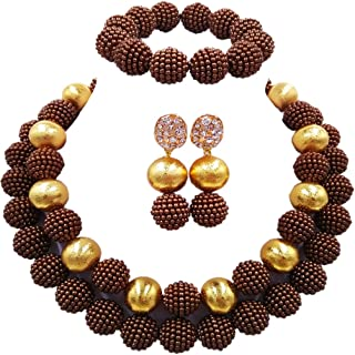 aczuv Nigerian Wedding African Beads Red Jewelry Sets for...