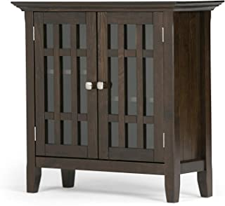 Furniture Bedford Solid Wood 32 inch Wide Rustic Low Storage Media Cabinet in Tobacco Brown Home Office Commerial Heavy Duty Strong Décor
