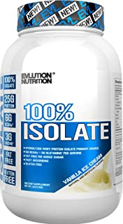 Evlution Nutrition 100% Isolate, Hydrolyzed Whey Isolate Protein Powder, 25 G of Fast Absorbing Protein, No Sugar Added, Low-Carb, Gluten-Free (Vanilla Ice Cream, 1.6 LB)
