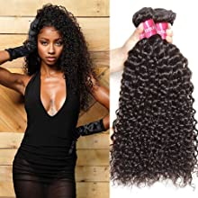 Sunber 10A Brazilian Virgin Kinky Curly Hair 3 Bundles 100% Unprocessed Brazilian Virgin Kinky Curly Human Hair Extensions Natural Black Color (22 24 26inch)