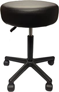 Adjustable Rolling Pneumatic Stool for Massage Tables, Examination Tables, Physician's Office by Therabuilt (Black)