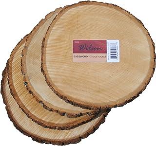 "Wilson Enterprises 4 Pack Basswood Round Rustic Wood, Unsanded, 9-11"" Diameter.."