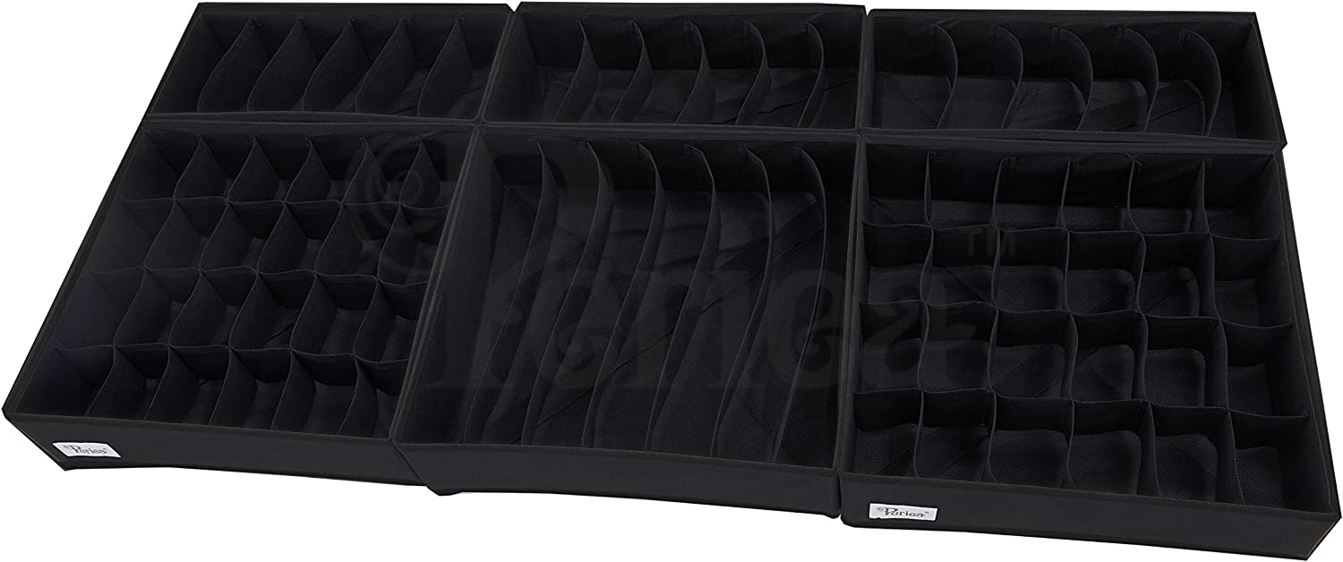 Individual Organisers or Packs Boxes in 3 Sizes for Organising Bedroom Drawers Periea Katrina Drawer Organisers Black, x2 24 Cell + x1 7 Cell + x3 6 Cell