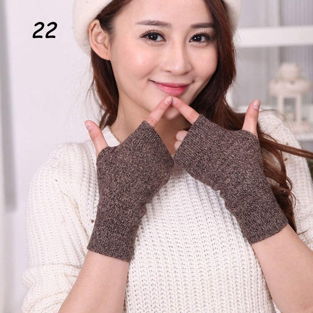 AIWO-LPT Winter Gloves Winter Cashmere Knit Half-Finger Short Gloves Solid Color Elastic Glove Thick Warm Mittens (Color : 22 Hua Coffee, Size : Medium)
