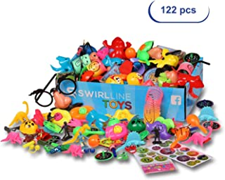 Party Favors Kids - Carnival Prizes Toys Bulk - Pinata Filler Toy Assortment - Boys Girls Birthday Halloween Box - Classroom Treasure Chest - Games Pack (122 Pack Multicolor)