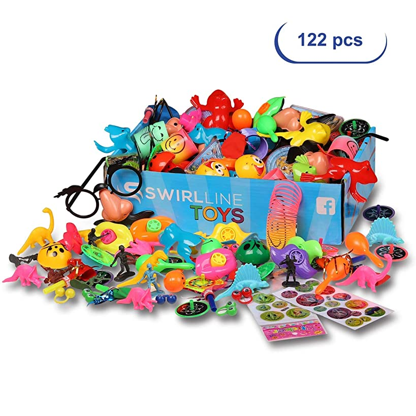 Party Favors Kids - Carnival Prizes Toys Bulk - 122PCS Pinata Filler Toy Assortment - Boys Girls Birthday Box - Classroom Treasure Chest - Games Pack