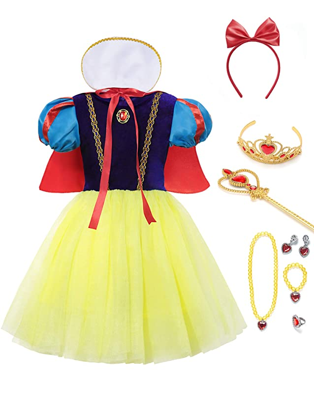 aibeiboutique Snow White Costume for Girls Halloween Princess Dress Up with Accessories
