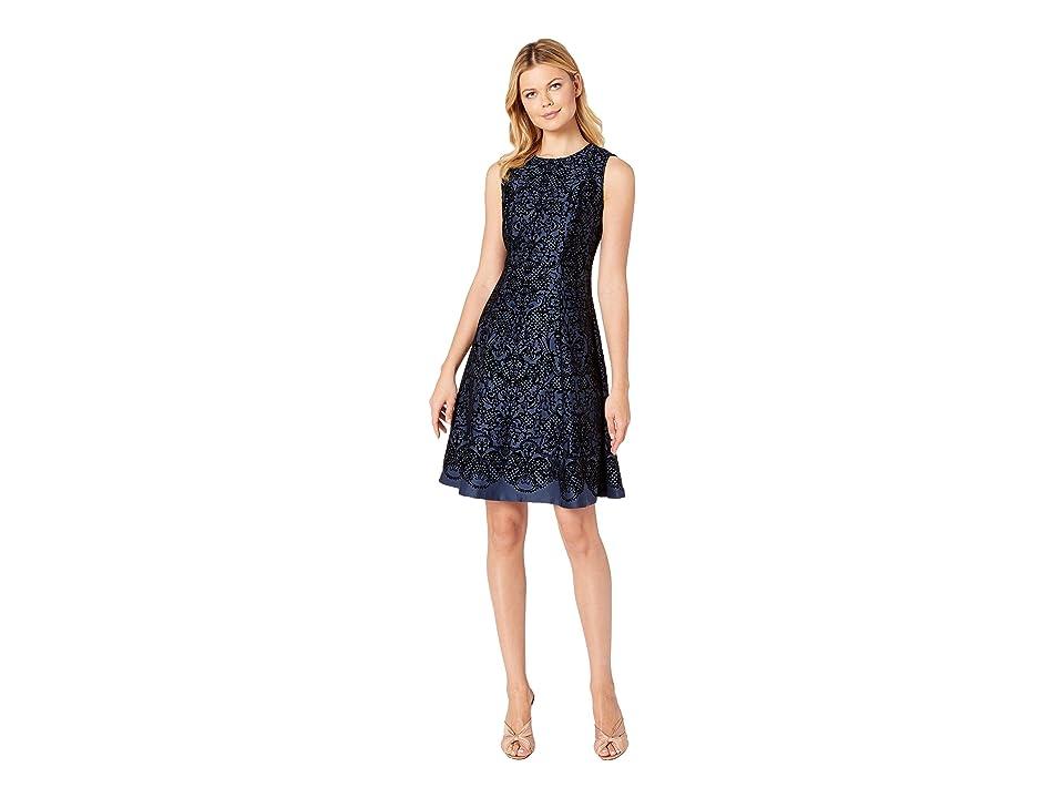 eci Sleeveless Flocked Fit Flare Dress (Navy) Women