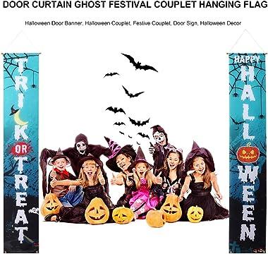 EXCEART 1 Pair Halloween Front Door Decorations Happy Halloween Trick Or Treat Front Door Indoor Couplets