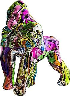 Generic Nordique Peint Graffiti Coloré Gorilla Figurine Animaux Sculpture Statue de Bureau Métier de Résine de Bureau À Do...