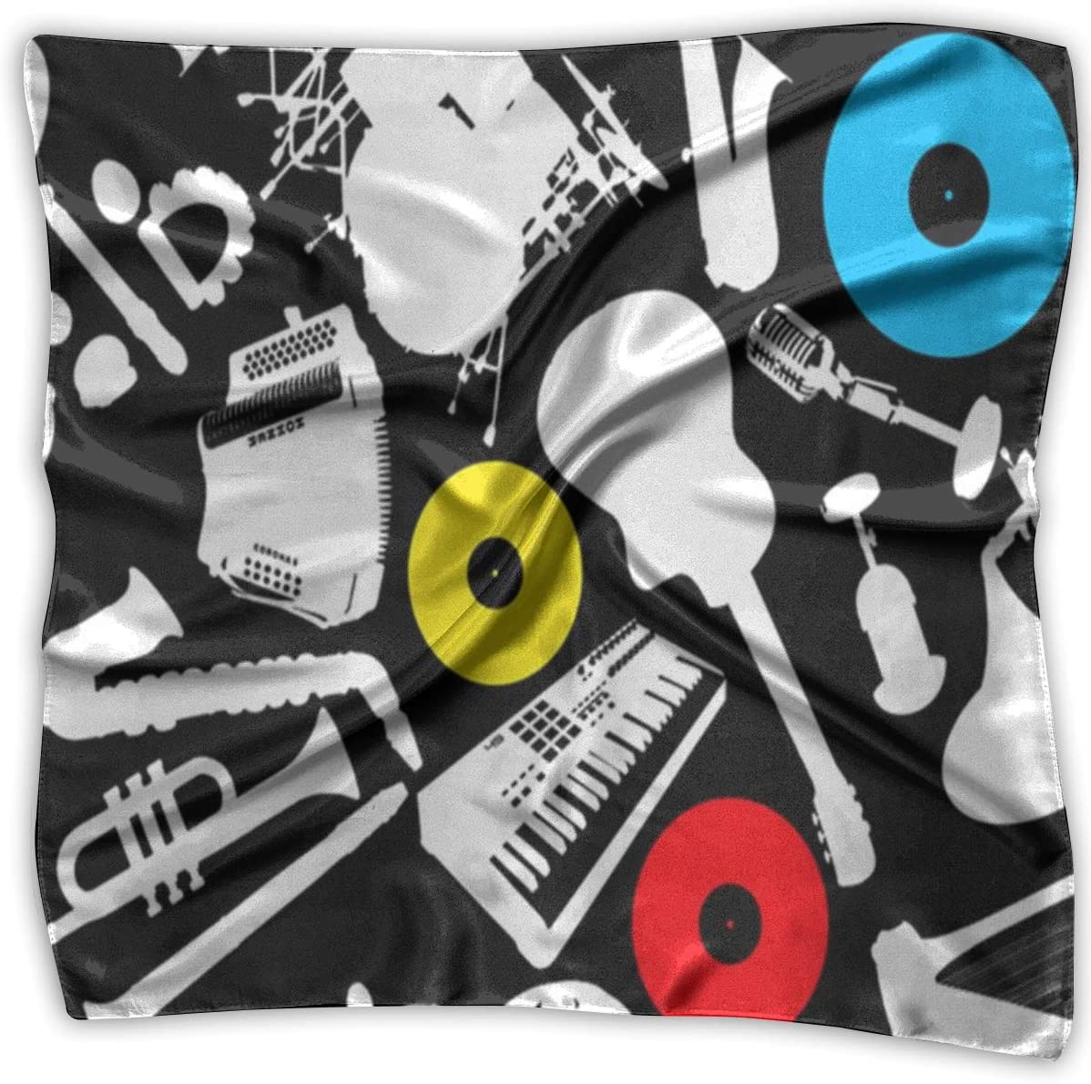 YANGZXC Floral Music Instruments Handkerchief Polyester Pocket Square Mulipurpose Silk Bandanas Delicate Printing