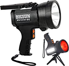BIGSUN Q953 10000mAh Rechargeable Spotlight Flashlight with 6000 Lumen LED, Foldable Tripod and Strap, Wall and Car Charge...
