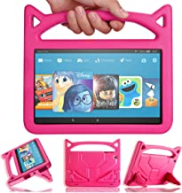 2019 New Kindle Fire HD 10 Kids Case, Angiuing Amazon Kindle Fire hd 10 Cases with Stand and Sturdy Handle, Tablet Child Case Compatible with 9th 7th and 5th Generation.(2017/2015/2019) (Pink)