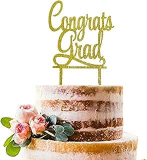 Gold Congrats Grad Cake Topper | Acrylic Graduation Cake Toppers 2020 | Graduation Cake Decorations | Grad Party Decorations | Graduation Party Supplies