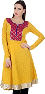 Devaleena Creations Magenta Brocade Yoke Yellow Cotton Anarkali Kurta For Girls