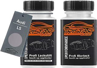 TRISTARcolor Autolack Lackstift Set für Audi L5 Florettsilber Metallic Basislack Klarlack je 50ml