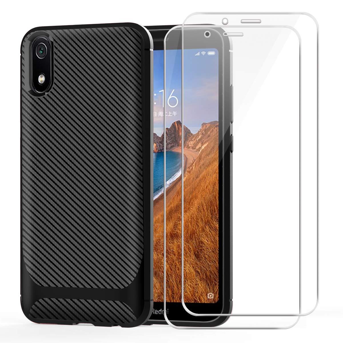 kaliter Funda para Xiaomi Redmi 7A, Fibra de Carbono Funda Case Carcasa Negro Smartphone de Silicona antiarañazos Funda con Dos Protectores de Pantalla de Vidrio Templado (5,45 Pulgadas): Amazon.es: Electrónica