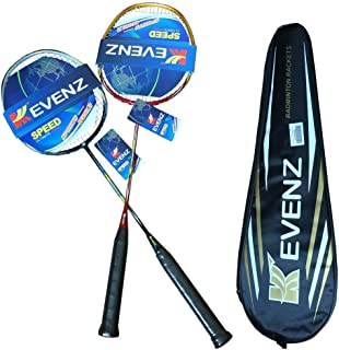 Kevenz 2 Pack Graphite High-Grade Badminton Racquet, Professional Carbon Fiber Badminton Rackets, 1 Black and 1 Red Racket...