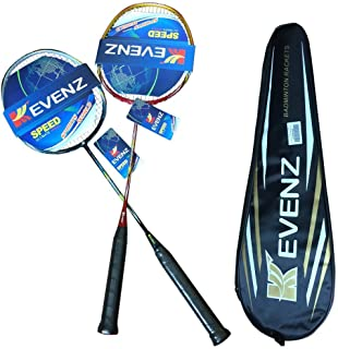 Kevenz 2 Pack Graphite High-Grade Badminton Racquet, Professional Carbon Fiber Badminton Rackets, 1 Black and 1 Red Racket, 1 Carrying Bag