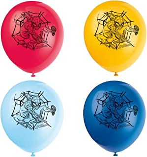 "Unique 59235 12"" Latex Spiderman Balloons, 8 Count"