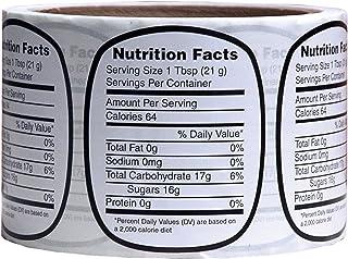 Mann Lake 250 Count Nutrition Label, Medium