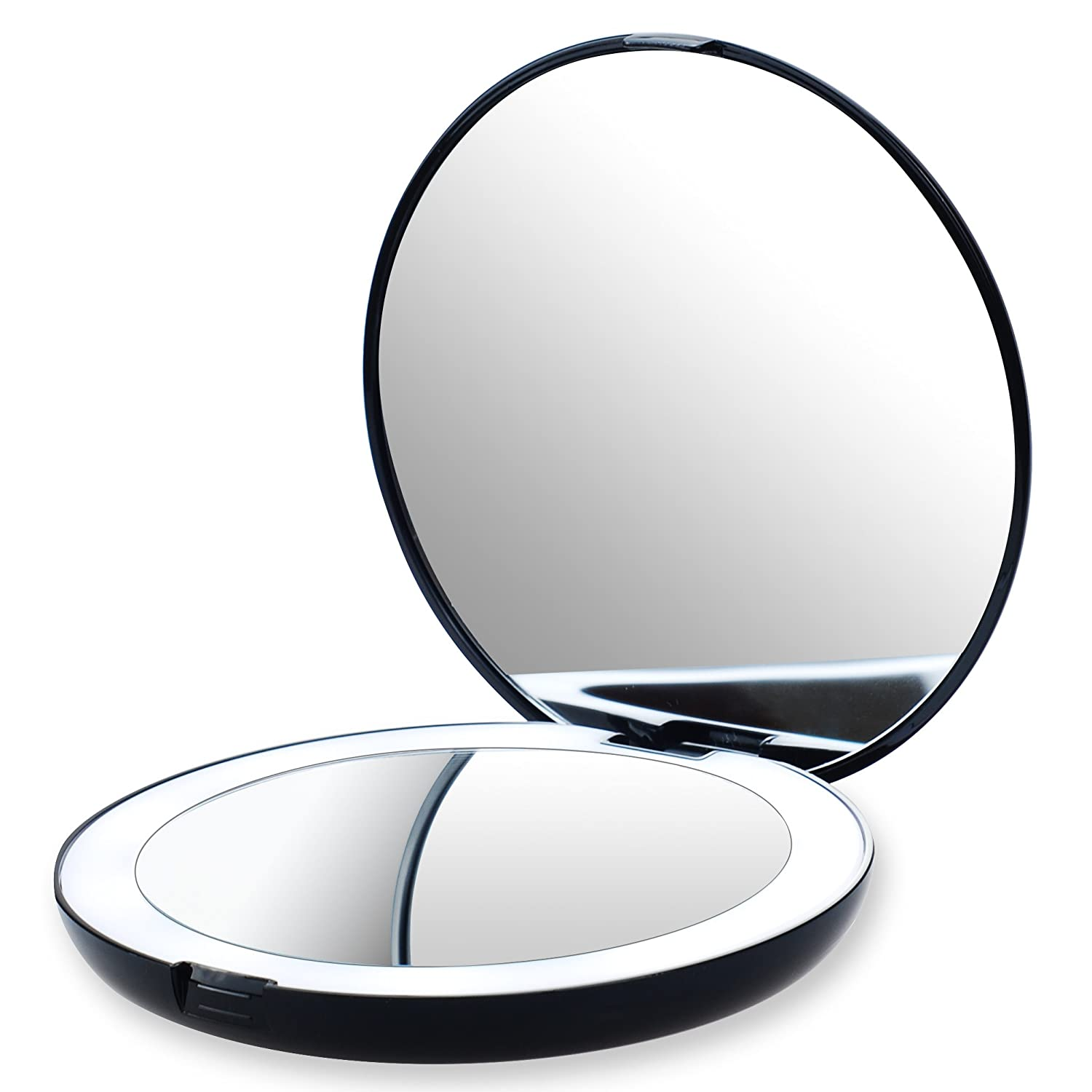 VrHere Lighted Max 51% OFF Travel Makeup Mirror Comp - Magnification At the price 1x 10x