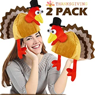 2 Pack Thanksgiving Turkey Hat Costume Unisex Full Face Hat Gifts for Party Decor Novelty Turkey Hat Orange