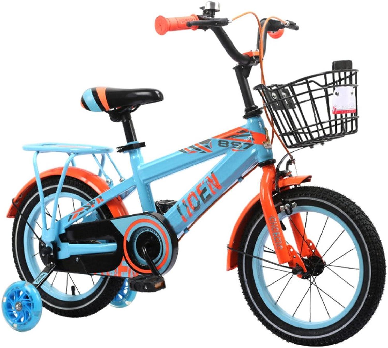 QXMEI Fahrrad Kind Junge 6-7-8-9-10 Mdchen 14 16 12 18 Zoll Fahrrad,Blau-14Inches