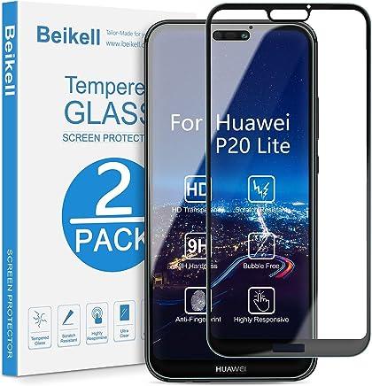 Beikell Protector Pantalla Huawei P20 Lite, [2 Piezas] Cobertura Completa 9H Dureza Cristal Vidrio Templado Huawei P20 Lite Sin Burbujas Resistente a Arañazos con Tela de Microfibra
