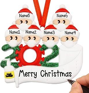 Quarantine Christmas Ornament Kit with Mask, 2020 Personalized Family Christmas Tree Ornament, 1-7 Family Members Hanging ...