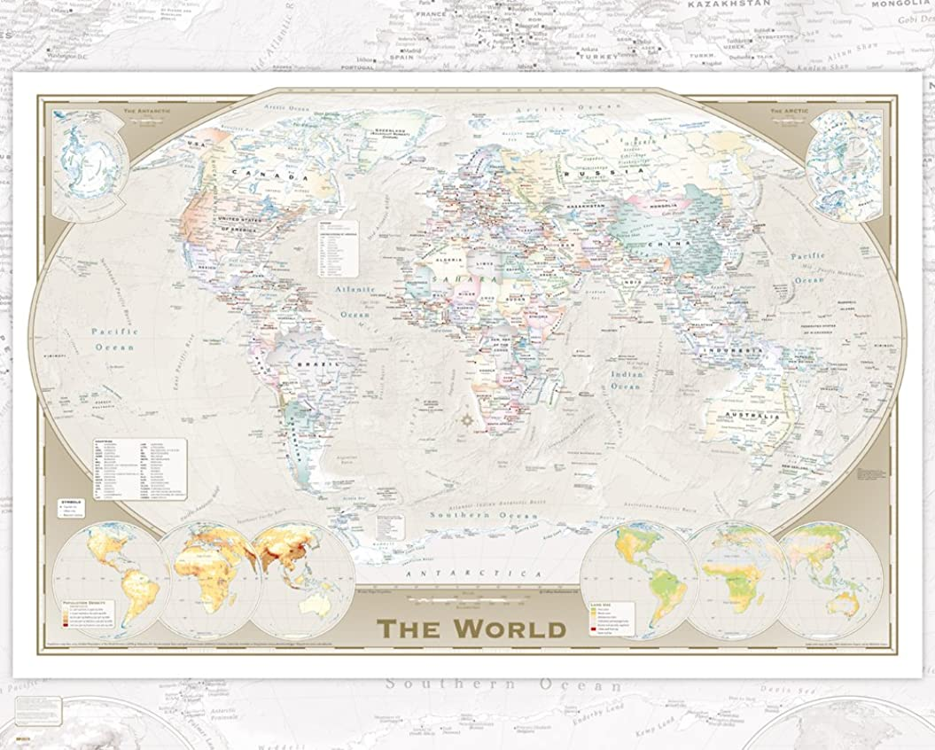 混雑ギャザー嘆くGB eye World Map Tripel Projection Mini Poster, Wood, Multi-Colour, 40 x 50 cm