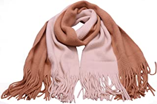 Womens Double Color Long Blanket Scarf Knit Cashmere Feel Tassel Scarf Large Wrap Shawl Cape Sc7