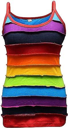 Shopoholic Moda Arcoiris de rayas mujer Camiseta De Tirantes,colorido hippy mujer chaqueta