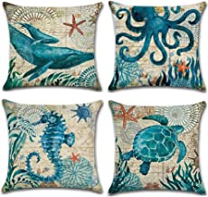 Jhdstore [4-Pack,2-Sides Printed] Sea Sepia Turtle Whale Throw Pillow Covers Ocean Marine Animal Pillow Cases Decorative Mediterranean Cotton Linen Square Cushion Cover Home Pillowcase (Marine Life)