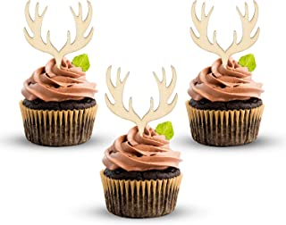 24 Counts Antler Cupcake Toppers Wooden Deer Cake Picks for Weeding Rustic Hunting Theme Retirement Boho Birthday Decorations Baby Shower Party Supplies