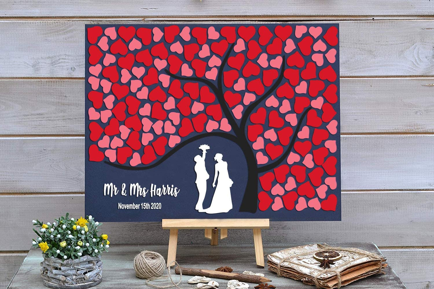 PotteLove Personalized Rustic Wooden Wedding Guest with Max 56% OFF Red Max 41% OFF Book