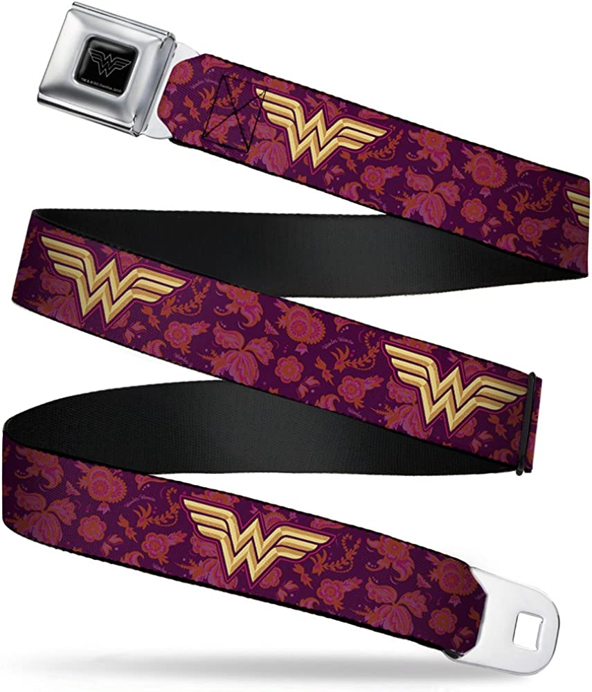 Buckle-Down Seatbelt Belt - Wonder Woman Logo/Floral Collage Purple/Pinks/Gold - 1.0