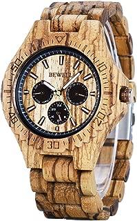 Bewell Men Wood Watches Unique Sub-dials Night Luminous Stylish Analog Handmade Wristwatch W116C