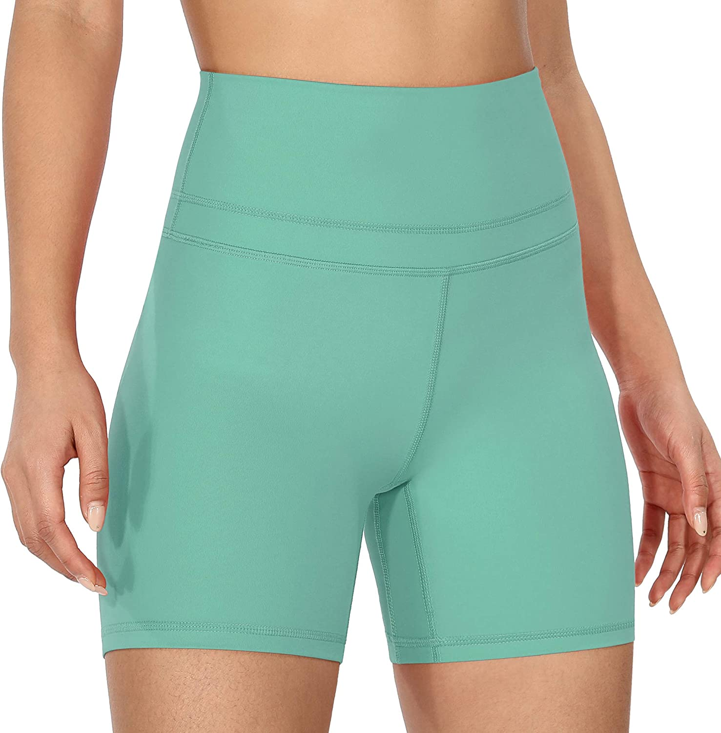 ODODOS Womens High-Rise Yoga Shorts with Inner Pocket Workout Running Biker Exercise Shorts-Inseam 5