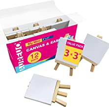 """COLOR MAGIC Mini Canvas Super Value Pack - Mini Canvases In Bulk for Painting & Craft, Best For Kids, With Easel, 3""""x 3"""""""