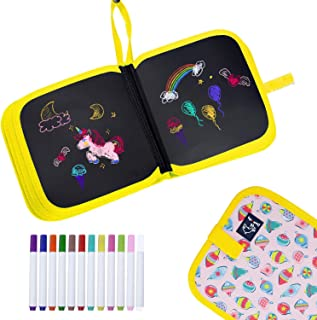 HXN Erasable Drawing Board, Reusable Doodle Board with 12 Colored Erasable Pens, Double-Sided Drawing Pad, Portable Drawin...