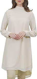 Women's Sukoon Long Sleeve Modest Chiffon Tunic Top Kurti Midi Tunic Dress - Off White