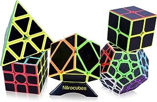 Nitrocubes Speed Cube Set 5 Pack Carbon Fibre Cubes 2x2 3x3 Skewb Pyraminx Megaminx