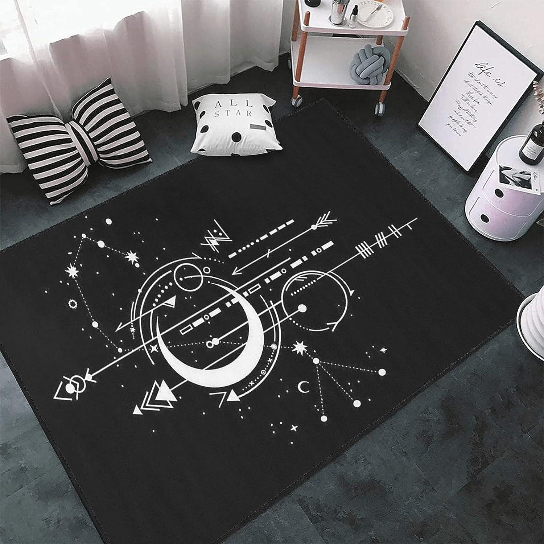 Art Moon Stars Area Rug Outlet ☆ Free Shipping Non-Slip L Memphis Mall for Floor Mat Bedroom Carpets