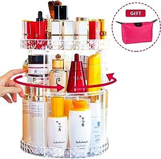 Mapletina Makeup Organizer 360 Degree Rotating Acrylic Perfume Organizer, Adjustable Makeup Storage, 6 Layers Large Capacity Cosmetic Storage Display Case for Vanity and Bathroom